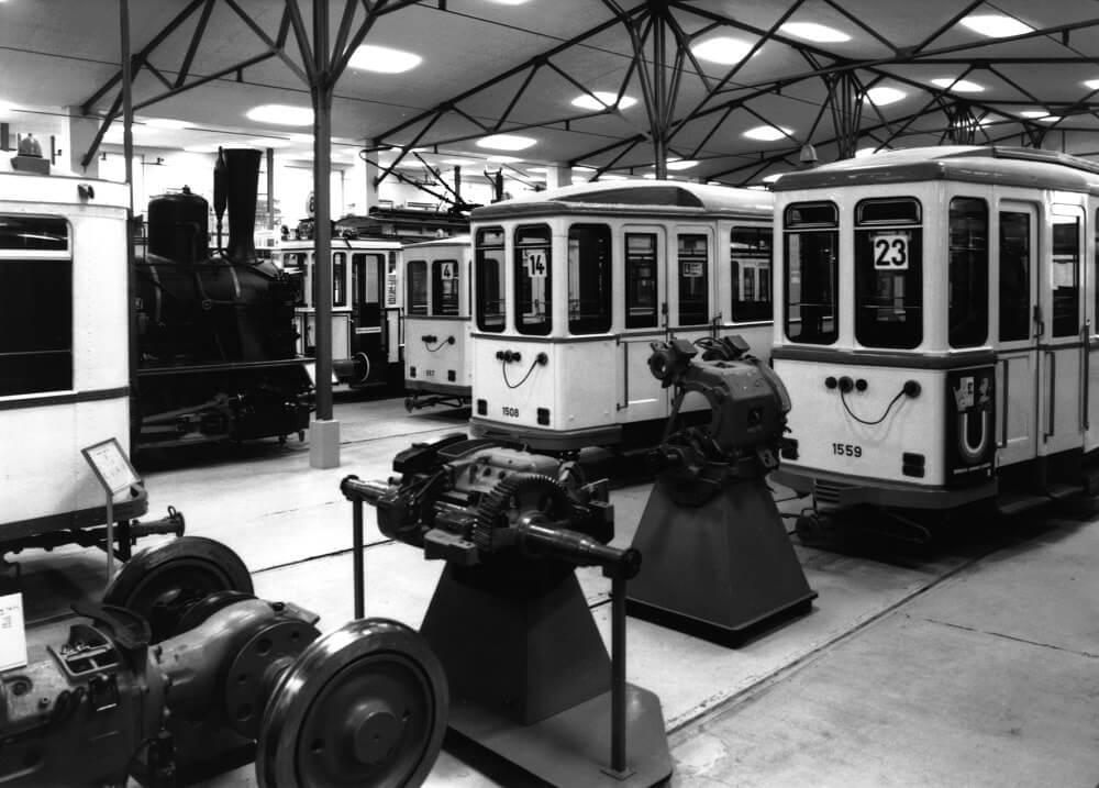 Westhalle des Verkehrsmuseums im Jahr 1987 (Quelle: Archiv Verkehrsmuseum Frankfurt am Main)