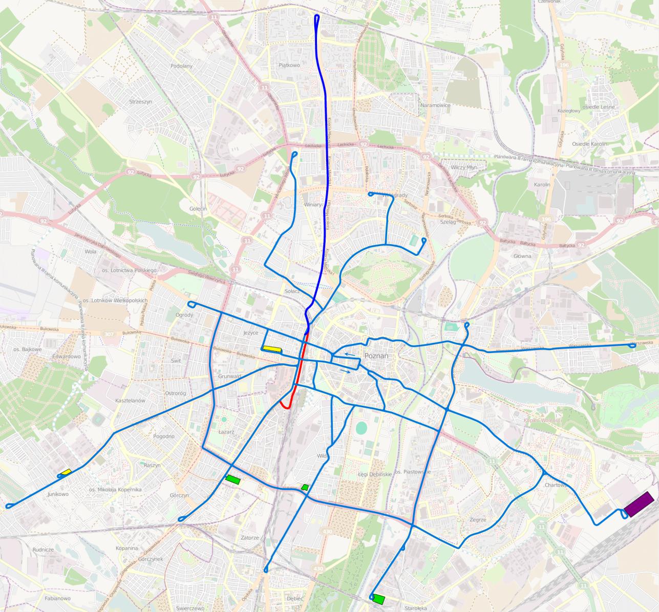 Auffallend sind die vielen Kreuzungen: Man kann nahezu von jedem Punkt in alle Richtungen fahren - äußerst praktisch für Umleitungen.