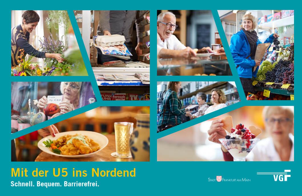 """Plakat """"Mit der U5 ins Nordend"""" mit Bilder-Collage"""