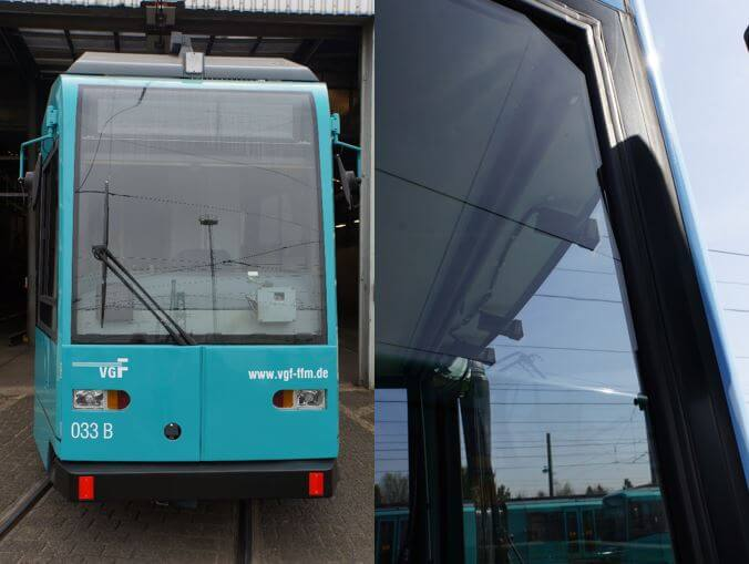 Zwei Bilder mit Ausschnitten der Bahnvorderseite mit Fahrerassistenzsystemen