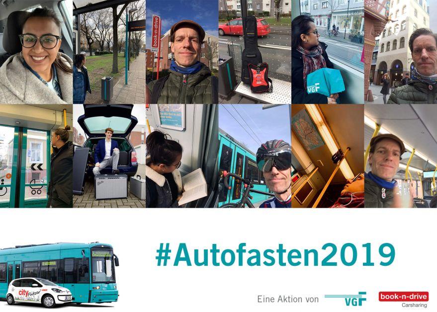 """Unterwegs ohne Auto: Collage der teilnehmenden Personen """"Autofasten 2019"""""""