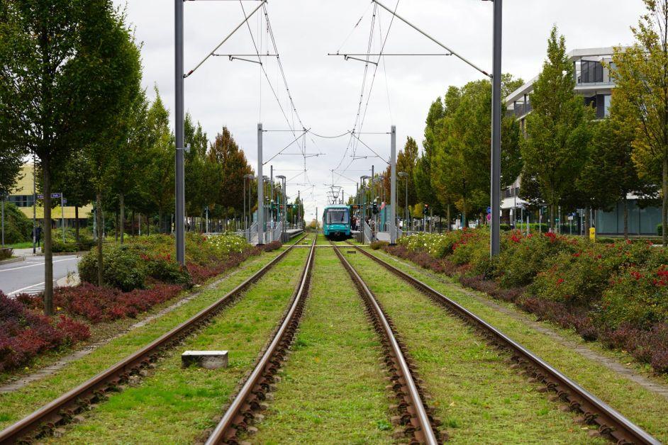 Straßenbahn an der Haltestelle und Umgebung