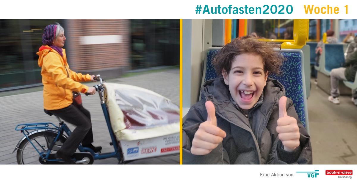 #Autofasten2020 Woche 1 - Frau auf Fahrrad und Kind in der Straßenbahn mit Daumen hoch